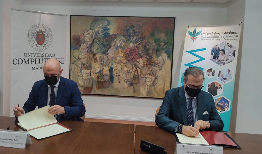 José María Alonso (a la derecha en la imagen) y el rector de la Complutense, Joaquín Goyache